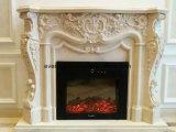Flower Carving를 가진 주문을 받아서 만들어진 Fireplace Surround White Marble Fireplace Mantel