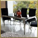 Europa elegante Steeel metal inoxidável francês Louis moderno mobiliário de sala de jantar de mesa