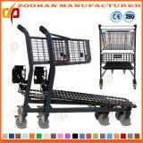 Супермаркет провода металла 2 ярусов регулируя тележку вагонетки покупкы (Zht203)