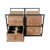 Wine Case Bouteille Système de stockage Roll-out Wood Metal Wine Rack