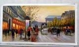 Photo sur Toile encadrée Handmade impressionnante peinture d'huile de la rue de Paris pour la décoration
