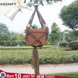 Potenciômetro de suspensão Handmade da planta verde do ofício do presente da HOME da decoração da corda do algodão