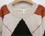 Suéter ocasional de las señoras del Knit del modelo de la tela escocesa de la manera superior