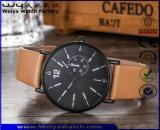 Relógio de pulso clássico de quartzo feito sob encomenda das senhoras da cinta de couro da forma (WY-P17011A)