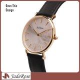 販売のための昇進の超薄いステンレス鋼のアナログの水晶女性腕時計