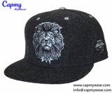100% algodón negro Material Tapa Snapback sombreros