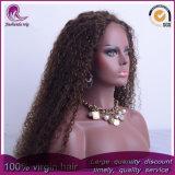 Rizado de color marrón de Afro el cabello virgen de Malasia peluca de encaje completo