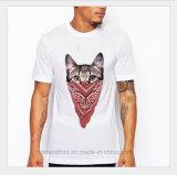 Maglietta 100% degli uomini caldi di Saling del gatto dell'OEM del cotone freddo di bianco