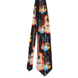 Cravate estampée par fantaisie faite sur commande de polyester de soie de 100% (NT-012)
