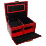 赤いPUの革木の宝石箱
