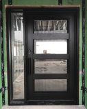 Утюга Wrougt металла двери стеклянного одиночные с бортовыми светами