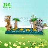 Giraf en de Gestreepte Opblaasbare Uitsmijter van het Huis van het Kasteel Bouncy Springende voor Jonge geitjes