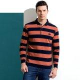 人の長い袖のしまのあるポロのKniteのティーワイシャツ