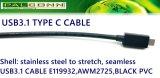 USB3.1 el tipo C para pulsar el cable de C, cable coaxial 10gbps, contiene E-MARK IC, L: 970m m +/-30mm