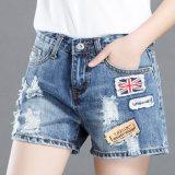 Venda por grosso de fábrica mulheres calção curto Jean calças de ganga
