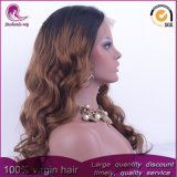 2t Brown Onda Natural Virgen India pelo peluca de encaje completo