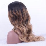Ombre Cabello ondulado de color de cabello virgen India encaje frontal peluca