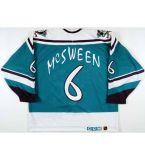 Ala selvaggia 1995-96 di Anaheim Mighty Ducks di ritorno al passato 11 Valeri Karpov 9 Paul Kariya 8 Teemu Selanne 6 pullover del hokey portati gioco del Don Mcsween