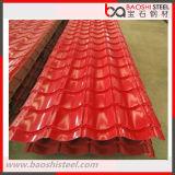 Hoja de acero acanalada galvanizada cubierta color del material para techos de PPGI