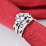 De groene Bruids Geplaatste Ring van het Ontwerp van het Blad - 17