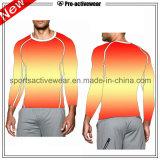 Camisa dos homens T do esporte da roupa da compressão do OEM da amostra livre