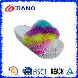 Pantoffel van de Vrouwen van pvc van het Platform van de Kleur van de regenboog de Hogere Hoge Openlucht (TNK35738)