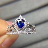 파란 입방 지르콘을%s 가진 Crown Silver Ring 공주