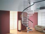 Escaliers spiralés faits sur commande avec le balustre d'acier inoxydable et la semelle en bois