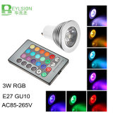 3W RGB LED Spotlight Luz E27 GU10 MR16