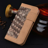 Caja de cuero tejida del teléfono de la carpeta de la PU con la ranura para tarjeta para el iPhone