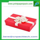 Коробка ювелирных изделий верхней части и дна изготовленный на заказ подарка тесемки бумаги с покрытием упаковывая