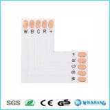 Pin del clip 5 del adaptador de la esquina del ángulo del conector RGBW del alambre de la tira del LED 5050