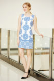 Безрукавный круглое платье туники печатание граници цифров шеи