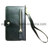 Черный случай сотового телефона бумажника PU кожаный