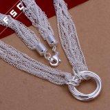 Het zilver plateerde de Milieuvriendelijke Halsband van de Tegenhanger van de Cirkel van het Koper voor Meisje