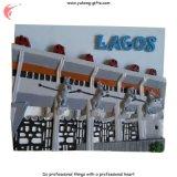 Ímãs de refrigerador de resina Polyresin de resina de turismo de Lagos (YH-FM091)