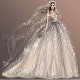 Design dessin croquis manuscrits robe de mariée réalisable (Dream-100002)