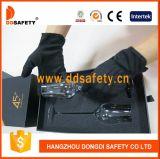 Ddsafety 2017 100% schwarze Baumwoll-Polyester-Handschuhe mit 3 Rippen ziehen an sich zurück
