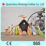 Figurines religieuses fabriquées à la main faites sur commande de nativité de dessin animé de résine de statues de Manger de série