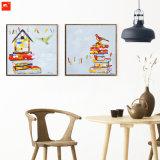 Casa de estilo dos desenhos animados e pintura de arte de pássaros para decoração de casa