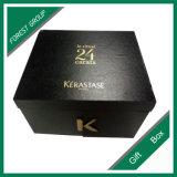 Boîte-cadeau de papier dure de laminage lustré noir de couleur