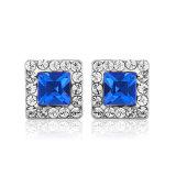 Juwelen van het Ontwerp van de Juwelen Zircon van het Platina van de Oorring van de manier de Vierkante Blauwe Elegante