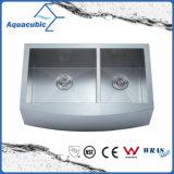 Двойной чаша из нержавеющей стали ручной работы Cupc кухне раковину (ACS3321A2Q)