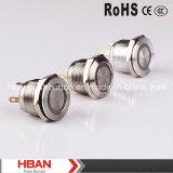 Hban (19mm) CE RoHS Ring-Illumination Interruptor de botón de metal plano