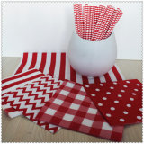 Color Printedの1/4折るEco-Friendly Party Striped Paper Napkin
