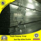 Tubo de acero de capa pre galvanizado del diámetro de la depresión del cuadrado grande de la sección