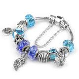 Braccialetto caldo di fascino di vendita 2017 con i braccialetti blu dei branelli di vetro di Murano