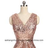 Bridesmaid одевает a - линию платья партии Sequins Пол-Длины V-Шеи Backless длинние