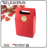 Brown Kraft imprime o saco cosmético revestido relativo à promoção da embalagem da jóia do portador de papel de arte da mão de papel do presente da compra com corda de nylon do algodão (d44)