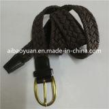 Les filetages de la courroie en cuir tressé ciré, or ovale de la courroie de boucle